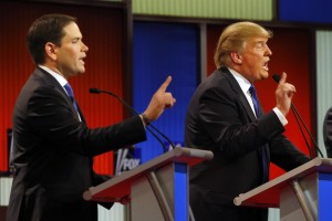 Candidates Donald Trump and Marco Rubio square off in one of the many Republican debates.